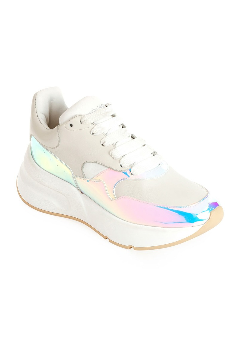 cb9d115bca4 Alexander McQueen Alexander McQueen Leather and Holographic Lace-Up ...