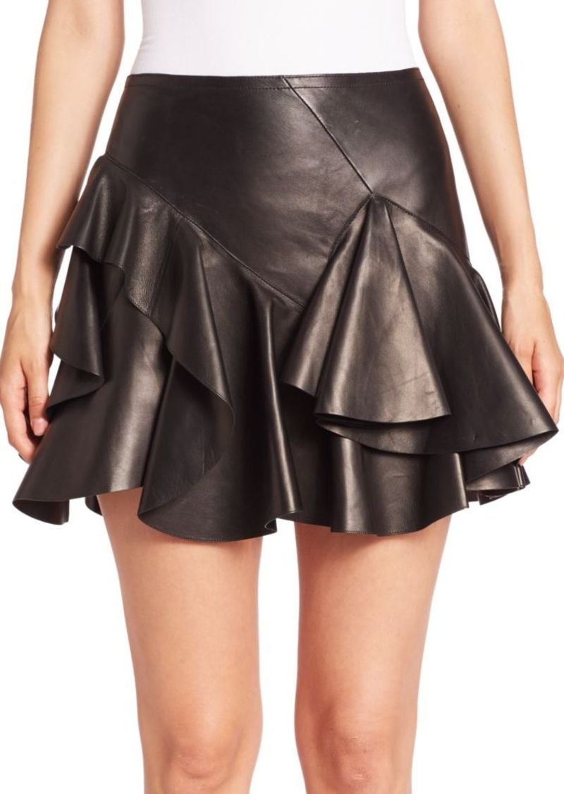 crazy price buy sale aesthetic appearance Leather Tiered Ruffle Mini Skirt