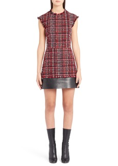 Alexander McQueen Leather Trim Tweed Minidress
