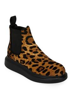 Alexander McQueen Leopard Calf Hair Ankle Booties