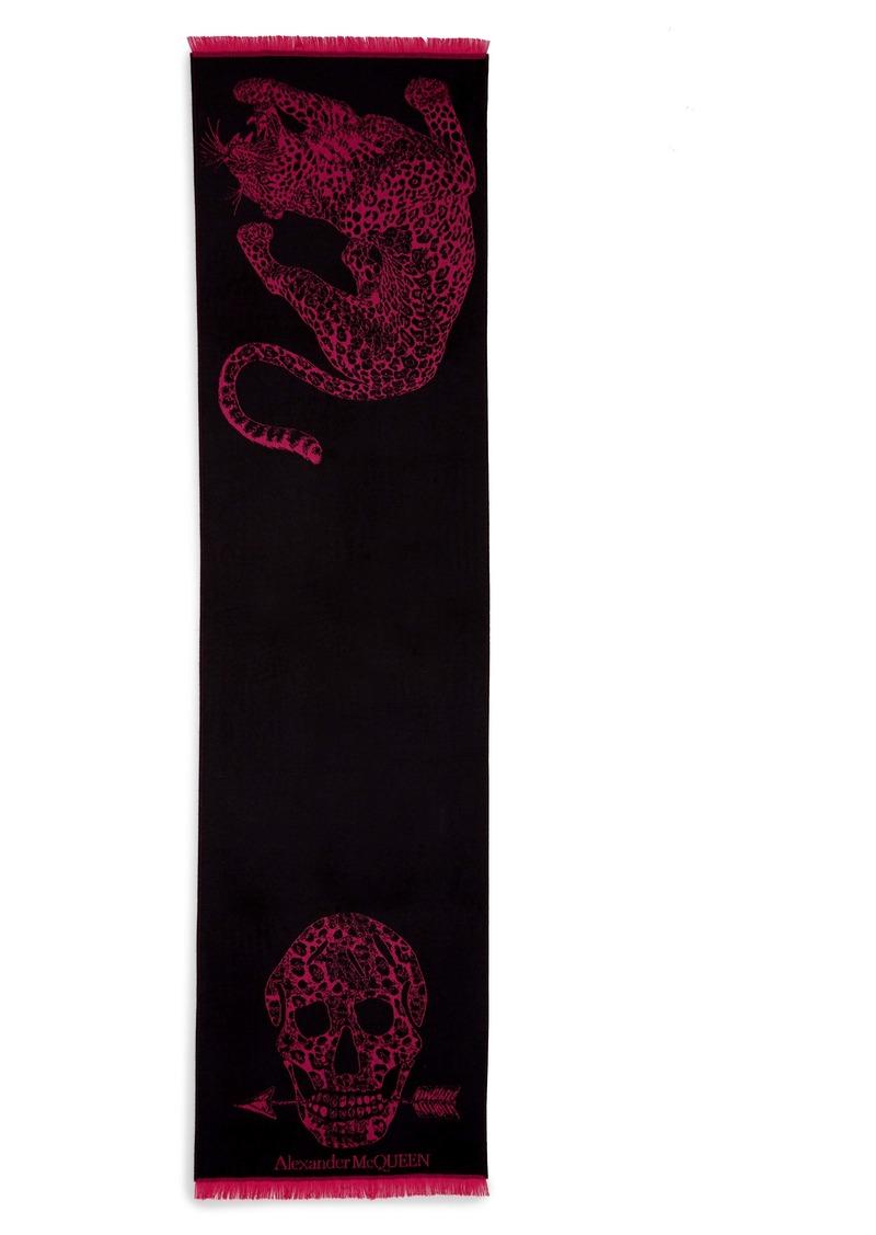 Alexander McQueen Leopard Wool Scarf