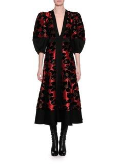 Alexander McQueen Lily Pad Jacquard & Velvet Midi Dress