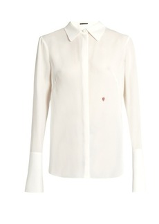 Alexander McQueen Logo-embroidered silk-georgette blouse