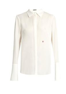 Alexander McQueen Logo-embroidered silk-georgette blouse