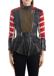 Alexander McQueen Logo Stripe Mixed Media Peplum Moto Jacket
