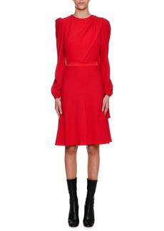 Alexander McQueen Long-Sleeve Crepe Draped-Bodice Dress