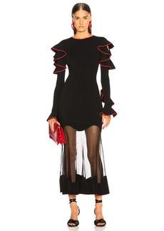 Alexander McQueen Long Sleeve Sheer Hem Midi Dress
