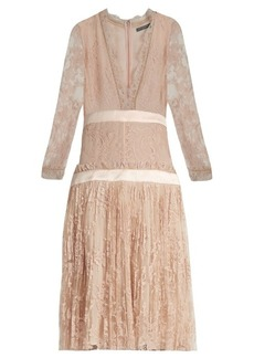 Alexander McQueen Long-sleeved plunging embroidered-tulle dress