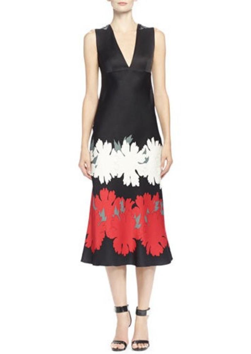 alexander mcqueen alexander mcqueen lotus flower print satin midi dress dresses shop it to me. Black Bedroom Furniture Sets. Home Design Ideas