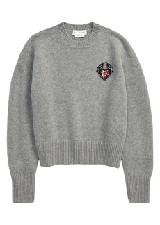 Alexander McQueen Love Birds Appliqué Wool Crewneck Sweater