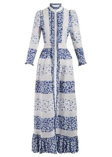 Alexander McQueen Macramé-panelled floral-print cotton gown