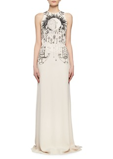 Alexander McQueen Magic Hand Embroidered Crepe Column Gown