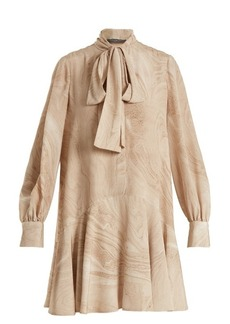 Alexander McQueen Marble-print silk crepe de Chine dress