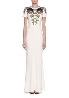 Alexander McQueen Medieval Floral-Encrusted Short-Sleeve Gown