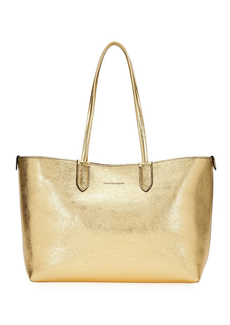 30b54a273 Alexander McQueen Medium Metallic Leather Shopper Tote Bag | Handbags
