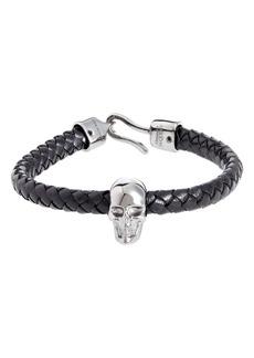 Alexander McQueen Men's Skull Braided Leather Bracelet
