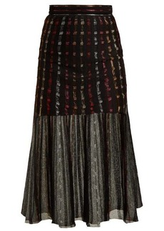 Alexander McQueen Metallic-knit pleated midi skirt