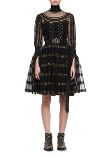 Alexander McQueen Metallic-Striped Lace Cocktail Dress