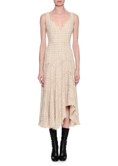 Alexander McQueen Metallic Tweed Sleeveless Draped Midi Dress