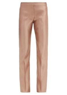Alexander McQueen Mid-rise silk-satin straight-leg trousers