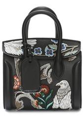 Alexander McQueen Mini Heroine Embroidered Calfskin & Genuine Snakeskin Tote