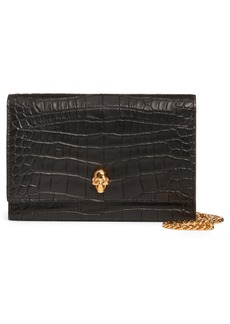 Alexander McQueen Mini Skull Croc Embossed Leather Shoulder Bag