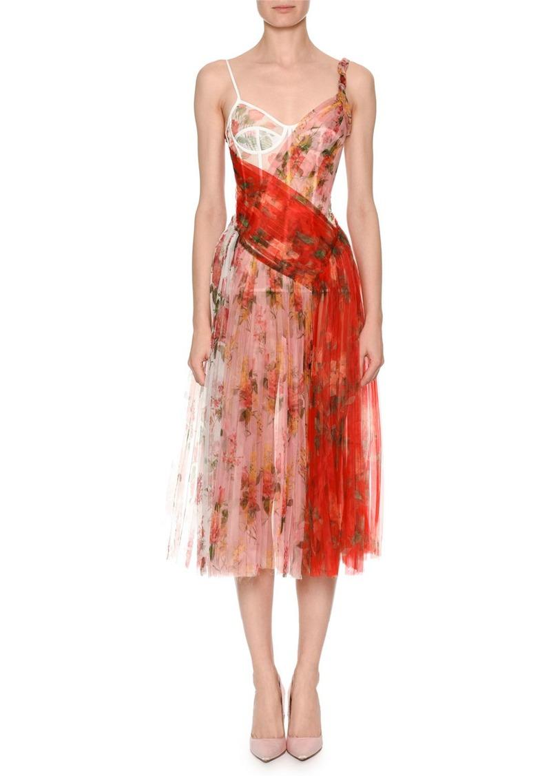 909db02220 Alexander McQueen Mixed Botanical   Rose Garden Organza Pleated Corset Midi  Dress