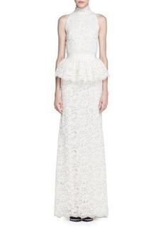 Alexander McQueen Mock-Neck Floral Lace Peplum Gown
