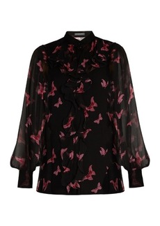 Alexander McQueen Moth-print crepon silk blouse