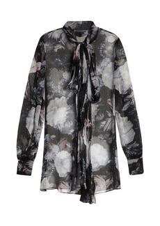 Alexander McQueen Neck-tie long-sleeved silk blouse