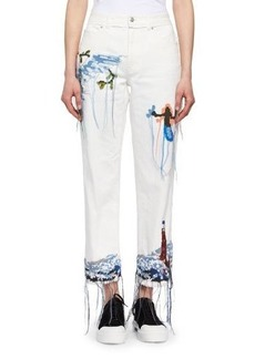 Alexander McQueen Needlepoint Embroidered Cropped Wide-Leg Jeans