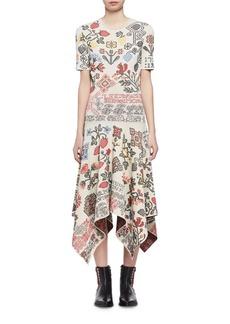 Alexander McQueen Needlepoint Jacquard Handkerchief-Hem Midi Dress