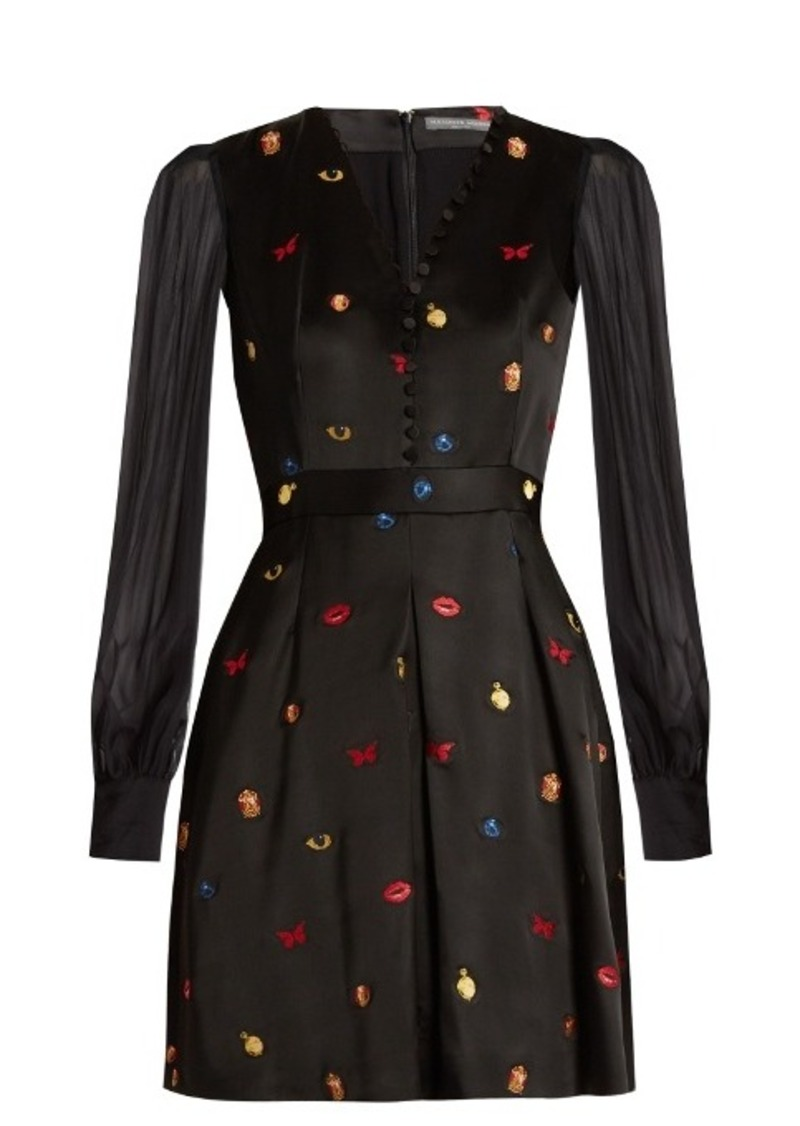 Alexander McQueen Obsession embroidered satin dress