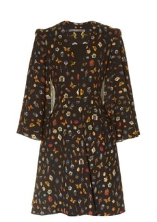 Alexander McQueen Obsession-print cape-sleeved crepe dress