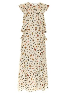 Alexander McQueen Obsession-print ruffle-trimmed crepe dress