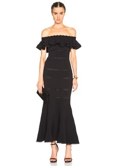 Alexander McQueen Off Shoulder Peplum Dress