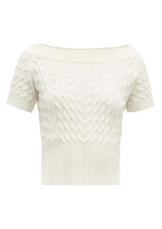 Alexander McQueen Off-the-shoulder cable-knit wool-blend sweater