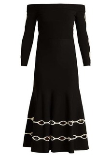 Alexander McQueen Off-the-shoulder eyelet knit dress