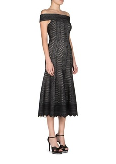 Alexander McQueen Off-The-Shoulder Flute Dress