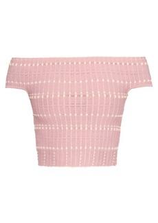 Alexander McQueen Off-the-shoulder knitted crop top