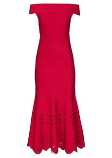 Alexander McQueen Off-the-shoulder knitted midi dress