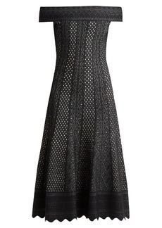 Alexander McQueen Off-the-shoulder lace-jacquard midi dress