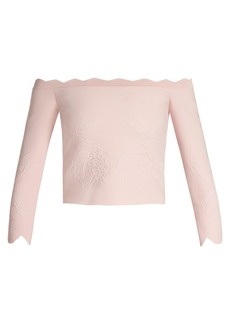 Alexander McQueen Off-the-shoulder matelassé cropped top