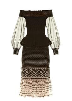 Alexander McQueen Off-the-shoulder peplum-waist midi dress