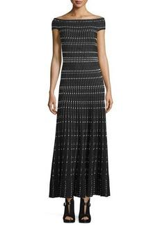 Alexander McQueen Off-The-Shoulder Plisse Gown