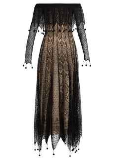 Alexander McQueen Off-the-shoulder pompom-embellished lace dress