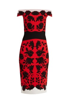 Alexander McQueen Off-the-shoulder rose-intarsia midi dress