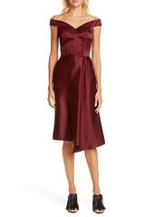 Alexander McQueen Off the Shoulder Satin Dress
