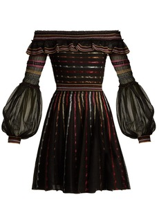 Alexander McQueen Off-the-shoulder silk-blend dress