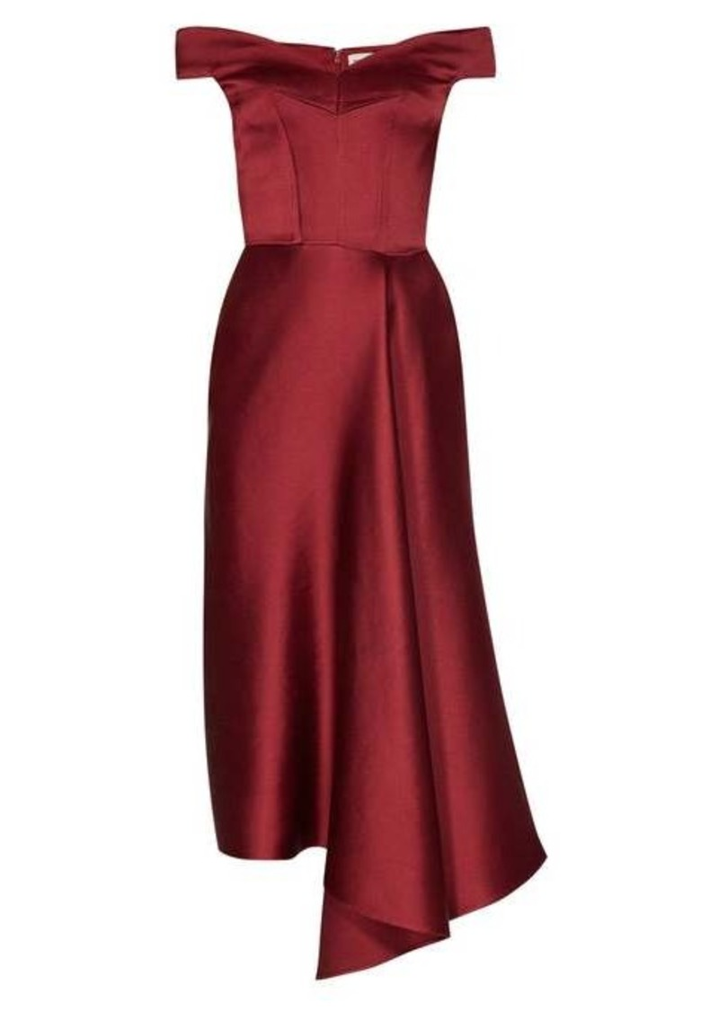 Alexander McQueen Off-the-shoulder silk-satin midi dress